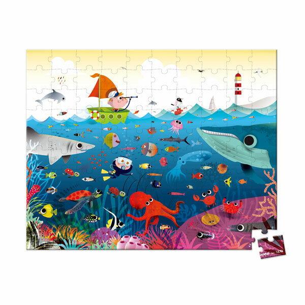 【法國Janod】厚片拼圖-海底世界100pcs