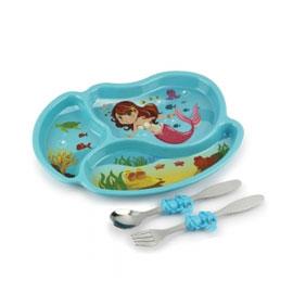 【美國KIDSFUNWARES】造型兒童餐盤組-小美人魚 ㊣原廠授權總代理公司貨