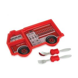【美國KIDSFUNWARES】造型兒童餐盤組-消防車 ㊣原廠授權總代理公司貨