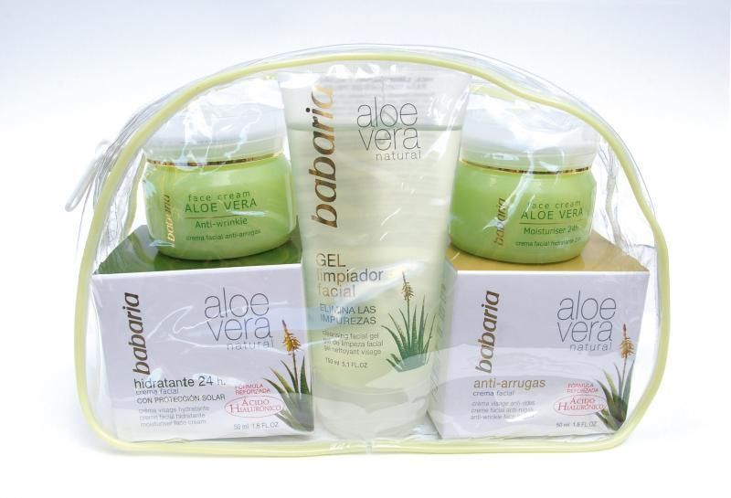 Neceser BABARIA aloe vera hidratante 50ml + antiarrugas 50ml + gel limpiador 0