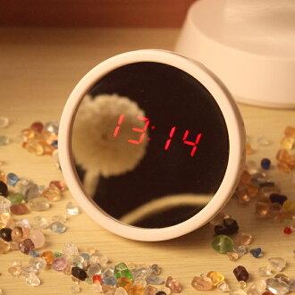 美人鏡鐘迷你小鬧鐘LED鏡子鐘十天預購+現貨