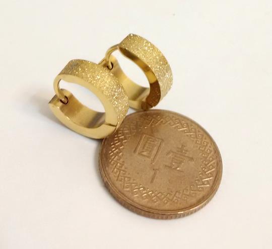 金色亮亮 西德鈦鋼不銹鋼耳環批批 一對75元