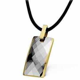 時尚切面鎢金鎢鋼項鍊。背鑲黑膽磁石。