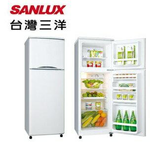 SANLUX 台灣三洋 143公升 雙門 定頻冰箱 珍珠白 SR-143B6 / 隱藏式把手 / 蔬果保鮮室 / 強化玻璃棚架