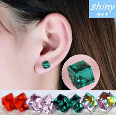 【33A03】shiny藍格子-獨特亮點.防過敏水立方水晶耳環
