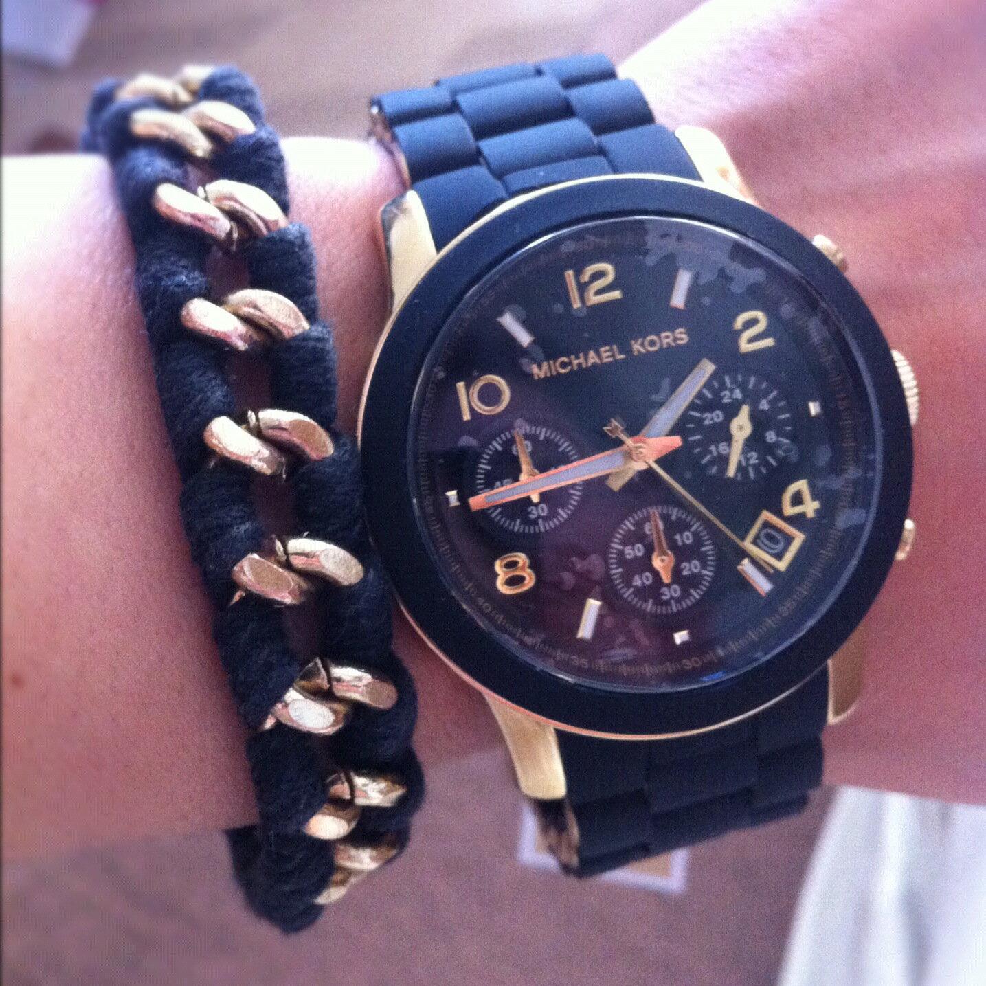 美國Outlet正品代購 MichaelKors MK 黑色橡膠 三環 運動風手錶腕錶 MK5191 6