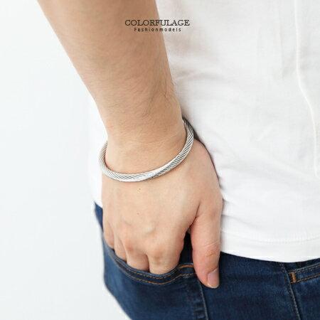 手環手鍊 極簡質感單品 立體雙頭圓帽造型銀色螺旋鋼索設計手環 柒彩年代【NA335】抗過敏抗氧化 0