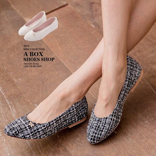 格子舖*【AW925】MIT台灣製 超值蝴蝶結毛呢混色毛料 尖頭平底包鞋 娃娃鞋 2色