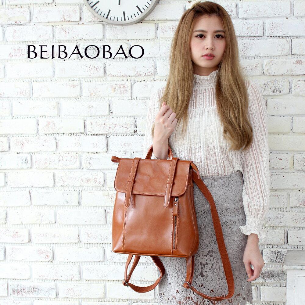 【BEIBAOBAO】微甜時尚油蠟牛皮後背包(共三色 奶茶棕) 0