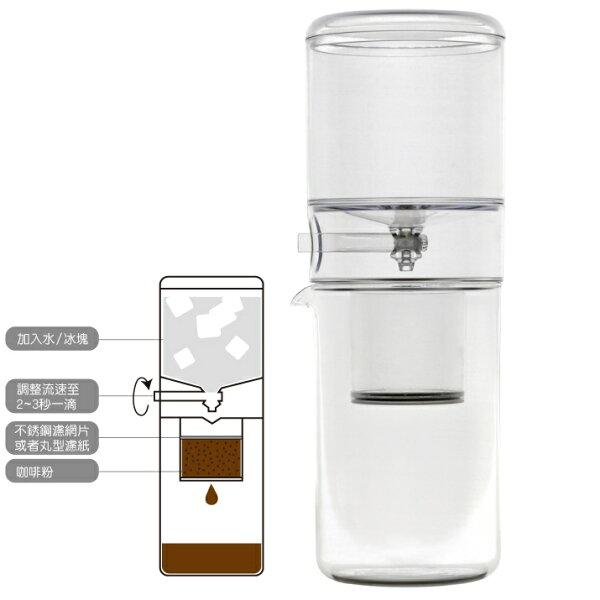 Driver設計師冰滴咖啡壺組玻璃壺600ml可調式節水閥-大廚師百貨
