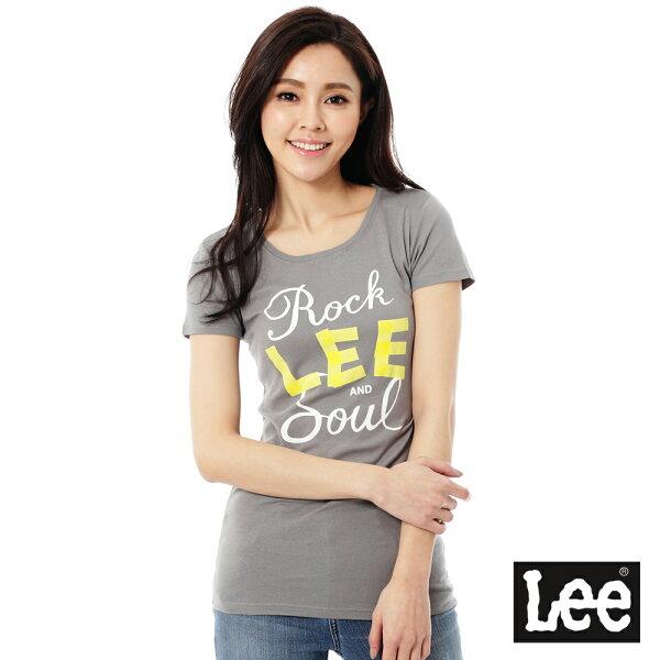【 390元優惠↘ 】Lee Logo 印刷短袖T恤 -女款(灰)