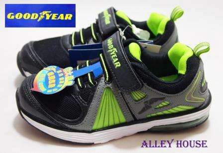 【巷子屋】GOODYEAR固特異 男童六大機能氣墊運動慢跑鞋 [20085] 黑綠 超值價$398