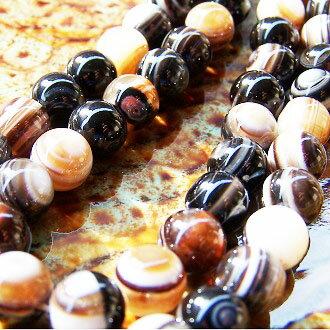 [黑條紋瑪瑙]天然寶石 8mm圓形珠 diy飾品散珠 2