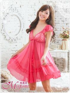 [瑪嘉妮Majani]日系中大尺碼睡衣-浪慢蕾絲 小包袖 大裙擺 甜美 性感 現貨 359元附同款丁字褲 js-113