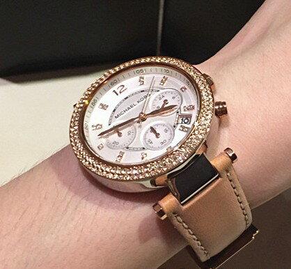美國Outlet正品代購 MichaelKors MK 真皮水鑽棕色 三環 手錶 腕錶 MK5633 5