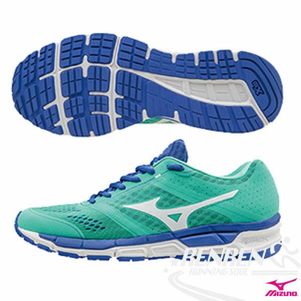 MIZUNO 美津濃  MIZUNO SYNCHRO MX(W) 女慢跑鞋 (粉綠X銀白) 翁滋蔓代言款