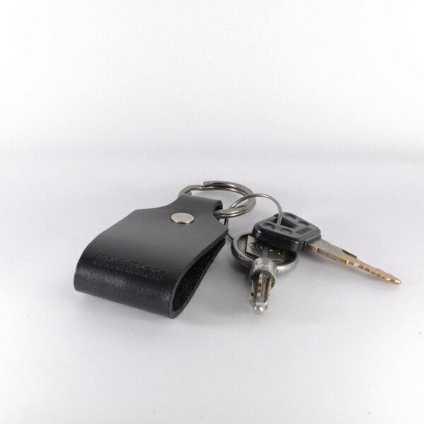 鑰匙圈 真皮 皮革 寛圈版 黑 -Mark Honor