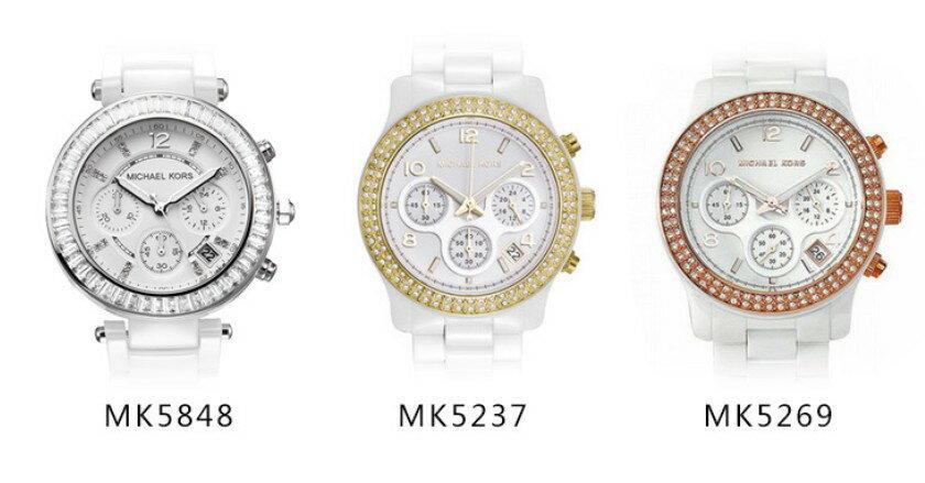 美國Outlet正品代購 MichaelKors MK 陶瓷 水鑽 三環 手錶 腕錶 MK5848 1