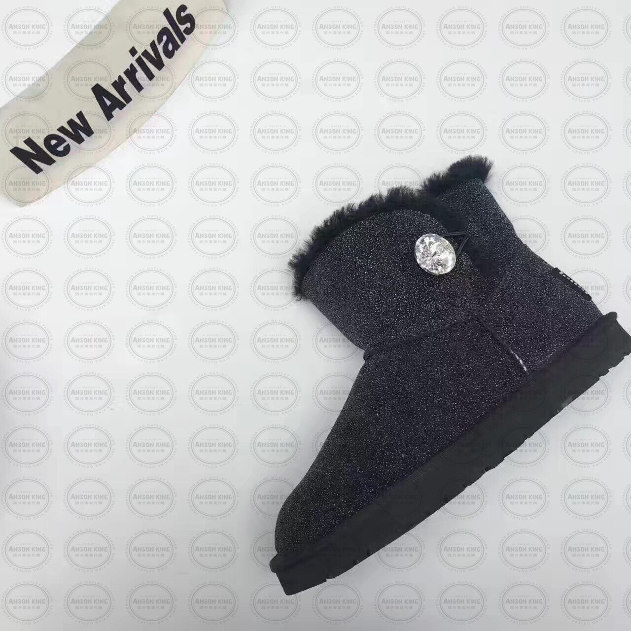 OUTLET正品代購 澳洲 UGG 明星同款水晶扣短靴 保暖 真皮羊皮毛 雪靴 短靴 黑色 1