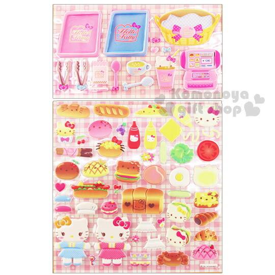 〔小禮堂〕Hello Kitty 立體貼紙《粉.麵包.烤盤.籃子》可貼信封.裝飾或收藏