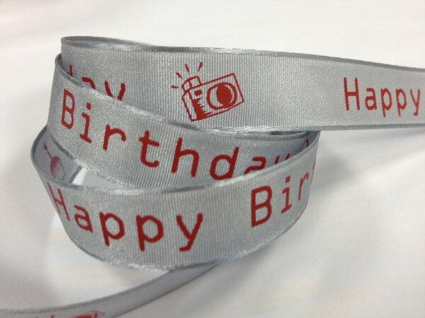 【Crystal Rose緞帶專賣店】平織帶生日快樂-相機