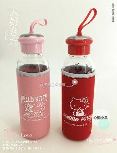 正版 Hello Kitty耐熱玻璃水瓶 500ml 附保溫潛水布套 凱蒂貓 KT 水壺 隨手杯 隨身杯 三麗鷗