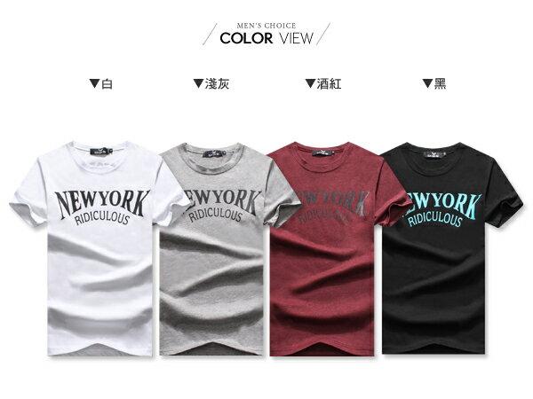 ☆BOY-2☆【OE10603】韓版休閒素面NEW YORK型男短袖T恤 1