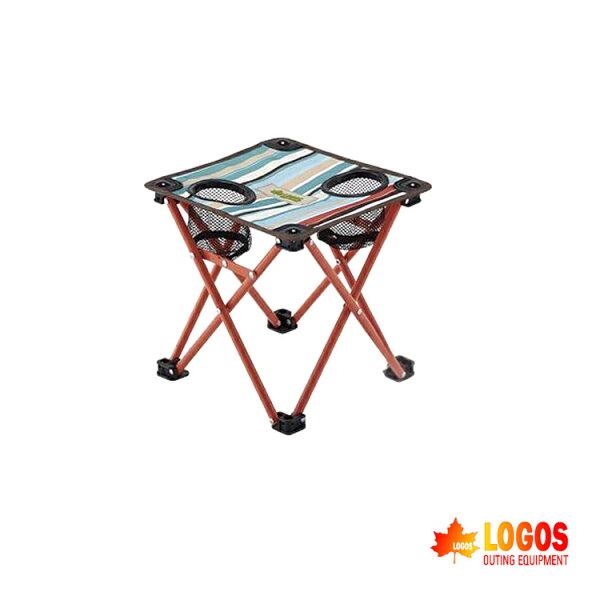 LOGOS 條紋飲料桌 LG73173037 /城市綠洲(戶外休閒椅.露營椅野營椅.飲料杯)