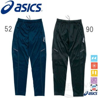ASICS 亞瑟士 針織慢跑長褲(深藍/黑) 吸汗快乾 抗UV 拉鍊口袋