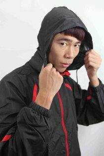 ASICS 亞瑟士 保溫機能防風夾克外套(黑*紅/XL號)