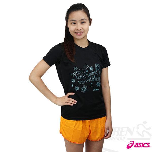 ASICS亞瑟士 女花漾排球短袖T恤(黑) 吸濕排汗,S.M。