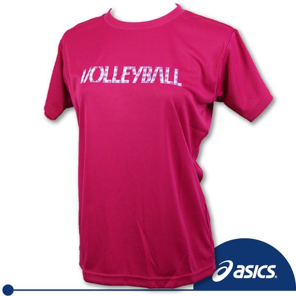 ASICS 亞瑟士女排球印花T恤(桃紅S.L) 吸汗速乾抗UV。XWK216-17