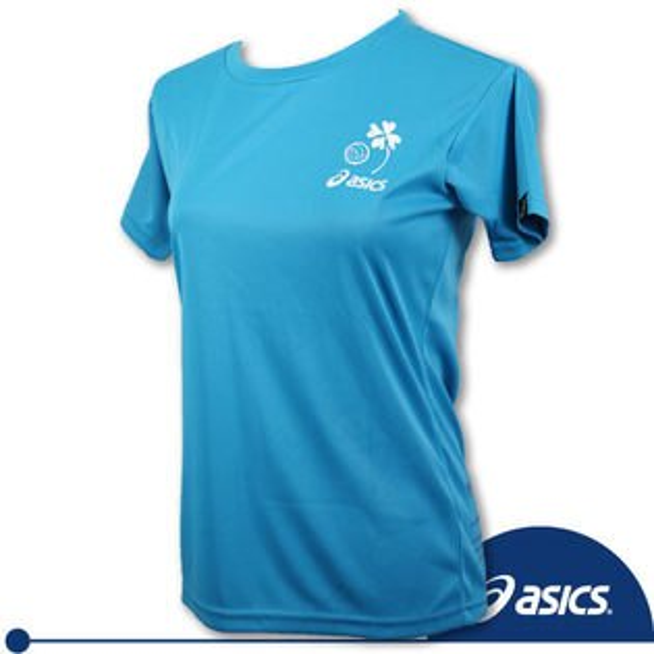 ASICS 亞瑟士 女 排球印花T恤(天藍) 吸汗速乾抗UV,S.M。
