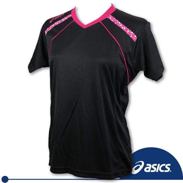 *2件85折*ASICS 亞瑟士 女排球針織T恤(/黑),吸汗速乾。XWK240-9017