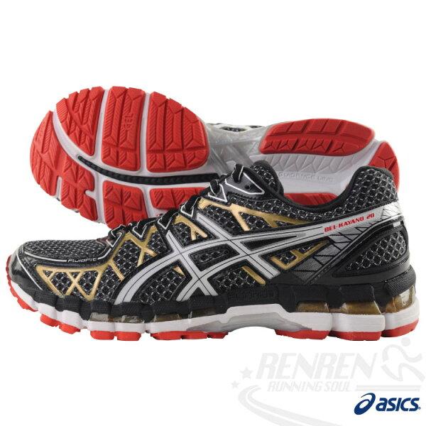ASICS亞瑟士-GEL-KAYANO 20 4E超寬楦 支撐型慢跑鞋(黑/紅) 2014新款 T3N4N-9001免運