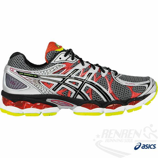 ASICS亞瑟士 男緩衝型慢跑鞋 4E寬楦 GEL-NIMBUS 16(灰*紅) 2014最新款T437N-9790
