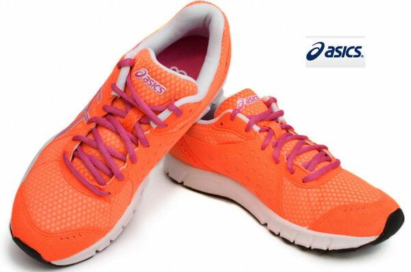 *特殺7折* ASICS亞瑟士慢跑鞋 女用RUSH33入門訓練跑鞋(香吉士/26) T1H7N-3137