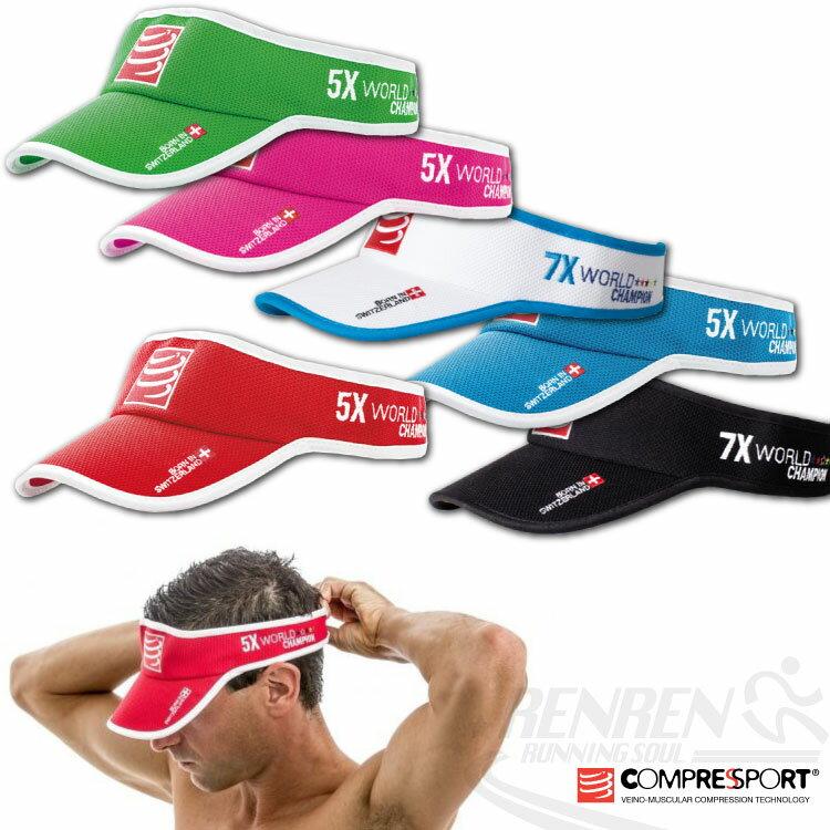 瑞士COMPRESSPORT 吸汗中空帽 三鐵用排汗遮陽帽 鐵人三項 黏扣可調大小^(共4