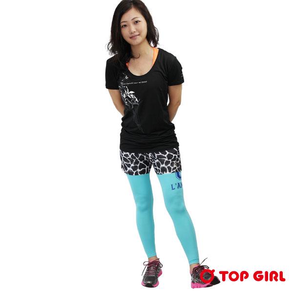 TOP GIRL 運動緊身長褲 女 湖水綠印花緊身褲 舒適彈性 3M快乾材質 台灣製造