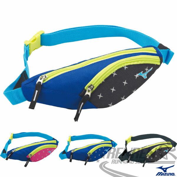 MIZUNO 美津濃 反光運動腰包(黑*藍) 雙夾層 NIGHT RUN 夜跑系列