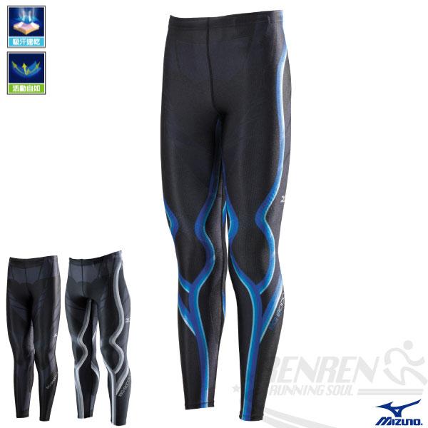 MIZUNO美津濃 日本製BG8000EX 男全長緊身褲(黑*藍) 輕量透氣支撐