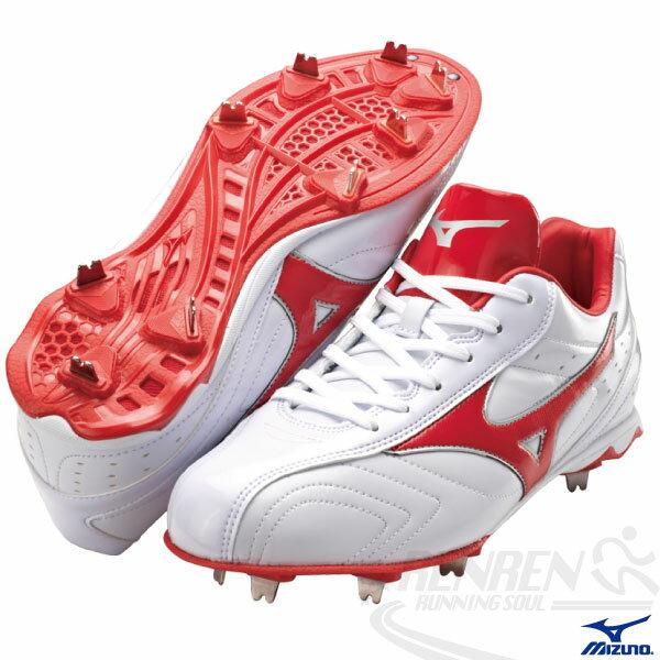 MIZUNO美津濃 棒球釘鞋(白*紅) ACCEL TRIGGER 日本向輕量固定釘設計 附紅色鞋帶
