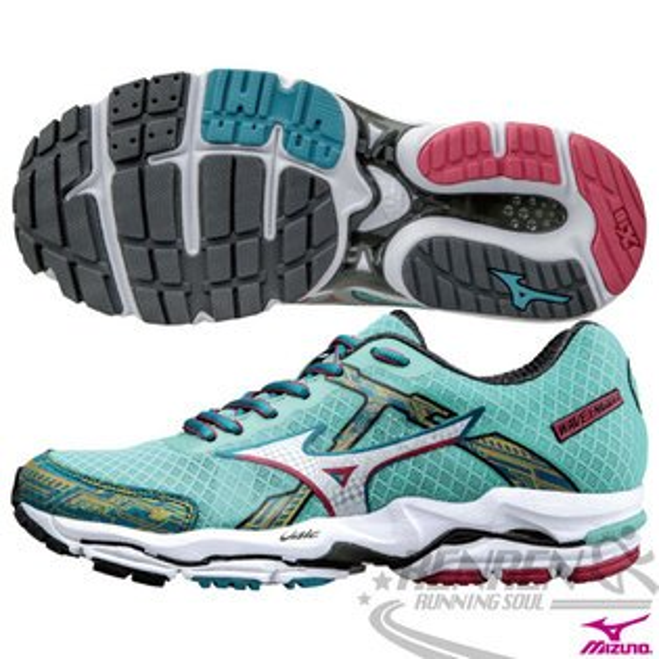 MIZUNO美津濃 女緩衝型慢跑鞋WAVE ENIGMA 4(水綠*銀) 全腳掌吸震波浪