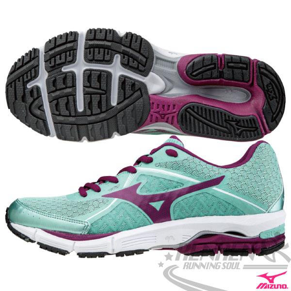 MIZUNO 美津濃 女慢跑鞋(粉綠X紫) WAVE ULTIMA 6 高吸震2015年新品