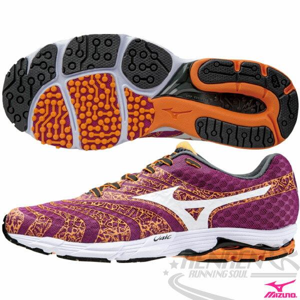 MIZUNO 美津濃WAVE SAYONARA 2 女慢跑鞋(紫紅*橘) 2015新款 輕量緩衝 慢跑訓練鞋