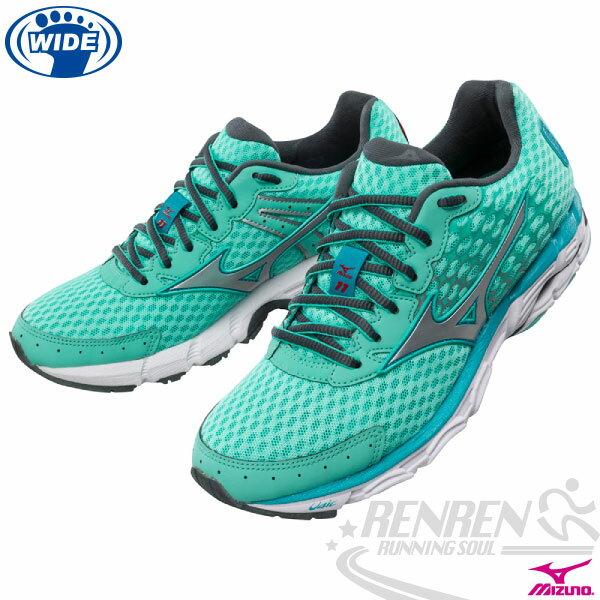 MIZUNO 美津濃 WAVE INSPIRE 11 女寬楦支撐型慢跑鞋^(湖水綠^~銀^