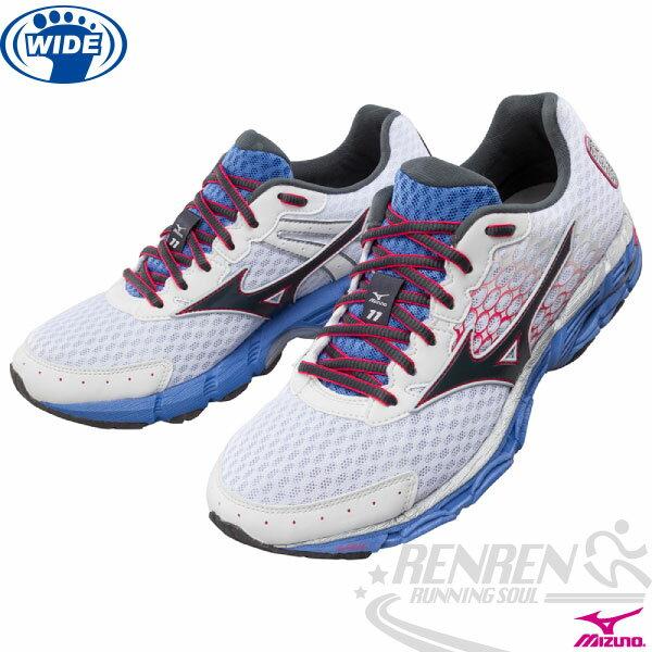 MIZUNO 美津濃 WAVE INSPIRE 11 女寬楦支撐型慢跑鞋2015年發燒貨(白*藍*黑)。