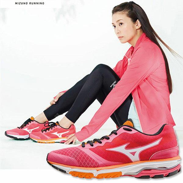 MIZUNO 美津濃 女寬楦慢跑鞋WAVE UNITUS WIDE(桃紅*白) 翁滋蔓代言休閒款 2015女子半馬