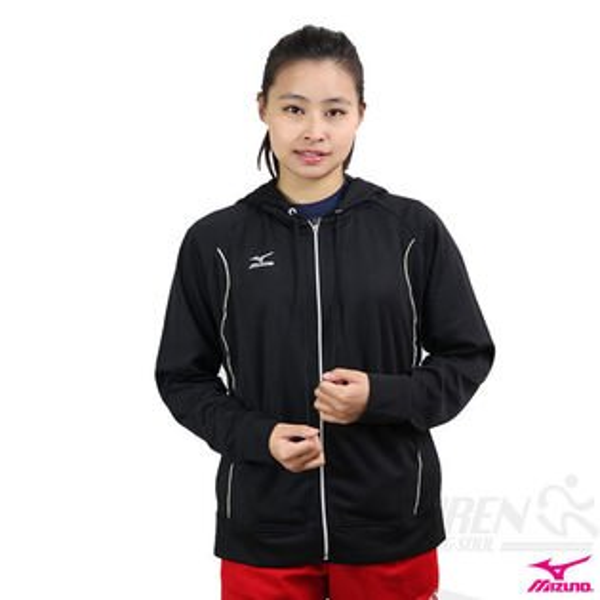 MIZUNO美津濃 女針織運動外套(黑)透氣吸溼排汗.慢跑適用