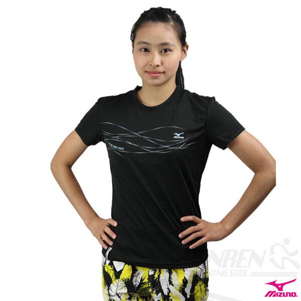 MIZUNO美津濃閃亮流線女短袖T恤(黑S/M) 吸汗快排 56TL-16309